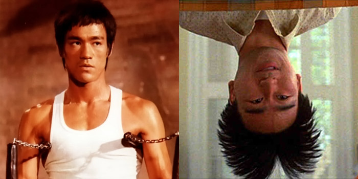 Bruce Lee (left) and the character Long Duk Dong (right) from the movie Sixteen Candles.